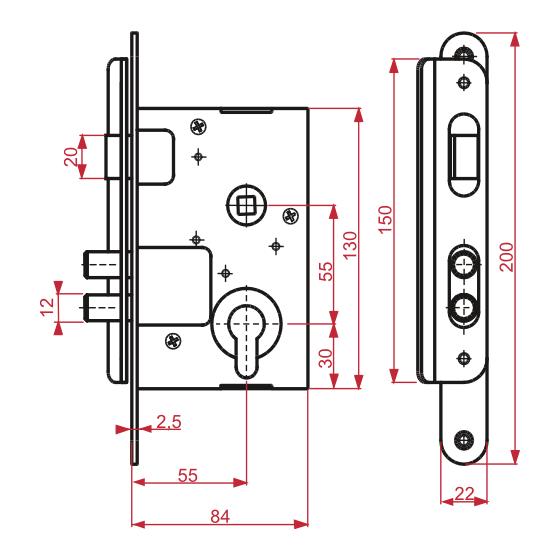 durvju slēdzene ZV4 izmēri